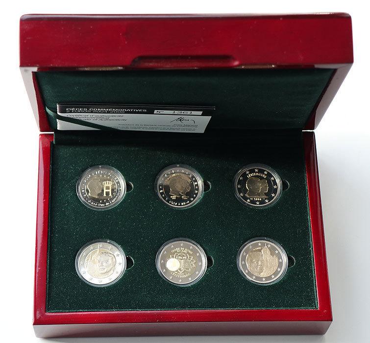 6 X 2 Euro Luxemburg Sondermünzen Set 2004 2008 Pp Proof Holzbox
