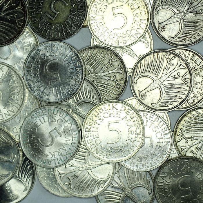 Brd 100 X 5 Dm Silberadler Investorenpaket Silbermünzen 1951 1974