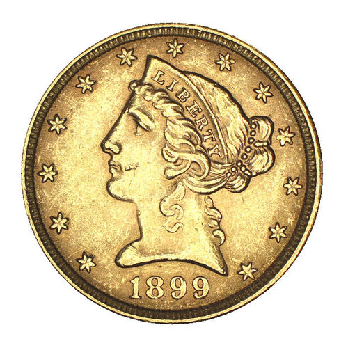 USA 5 Dollar Gold Liberty 1899 Coronet Head Philadelphia ss-vz