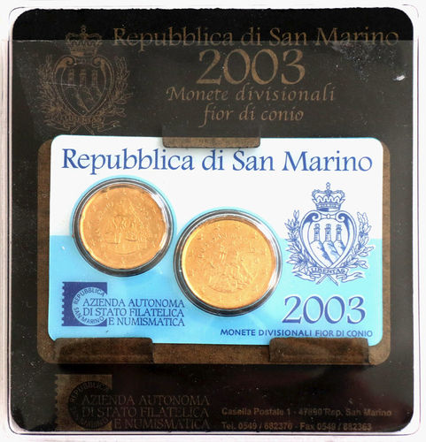 San Marino Euro Münzen Set 2003 Kursmünzensatz Klein 07 Euro