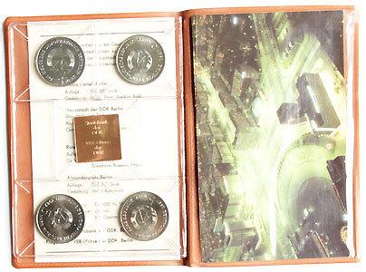 Ddr Themensatz 750 Jahre Berlin 1987 4 X 5 Mark Mit Medaille 1989