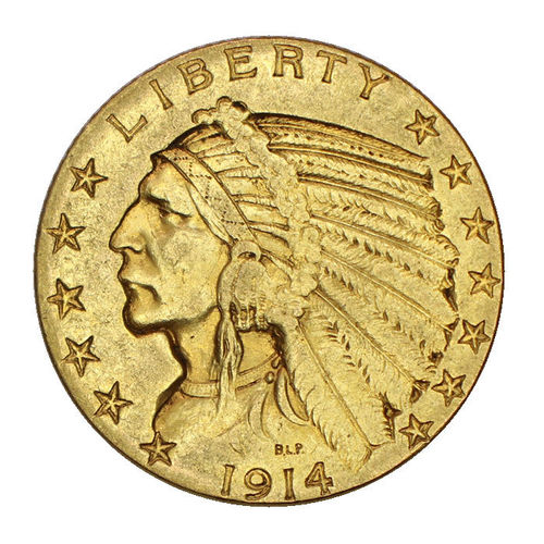 USA 5 Dollar Gold Indian Head 1914 S vz