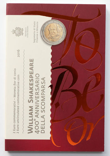 2 Euro San Marino William Shakespeare 2016 ST Folder