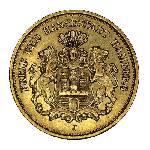 Jaeger 208 5 Mark Gold Wappen Hamburg 1877 J vz