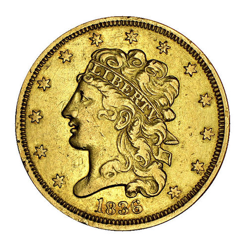 USA 5 Dollar Gold Liberty 1836 Classic Head Philadelphia ss