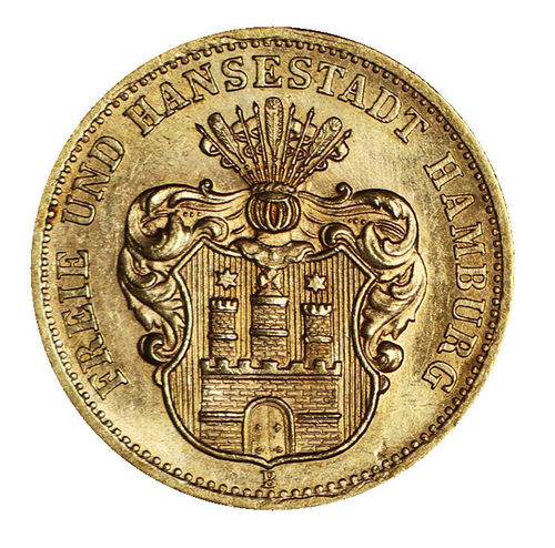 Jaeger 207 10 Mark Gold Hamburg Wappen 1874 B vz